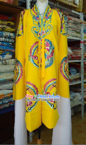 Traditional Chinese Beijing Opera Embroidered Phoenix Yellow Empress Robe