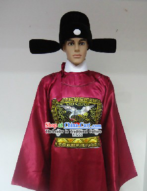 Traditional Chinese Stage Performance Ming Dynasty Government Official Robe and Hat for Men