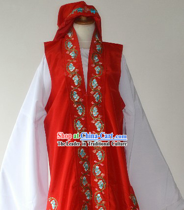 Red Peking Opera Chun Xiang Legend Meng Long Jacket