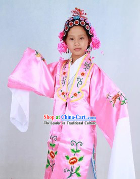 Traditional Chinese Stage Performance Hua Dan Costumes and Headpieces for Kids