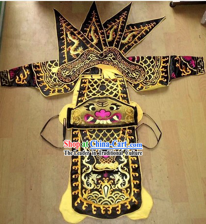 Traditional Chinese Embroidered Dragon Armor Da Kao Costume Complete Set for Kids