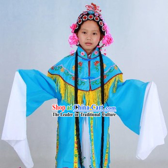 Asian Peking Opera Hua Dan Lady Costumes Wig and Hair Accessories for Kids
