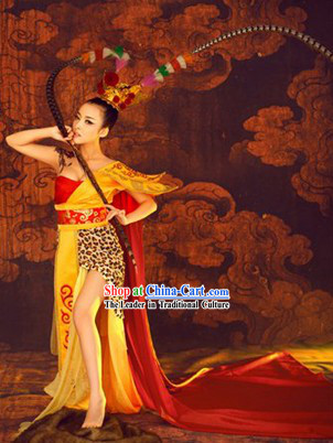 Ancient Chinese Female Monkey King Sun Wukong Costumes and Headpieces Complete Set