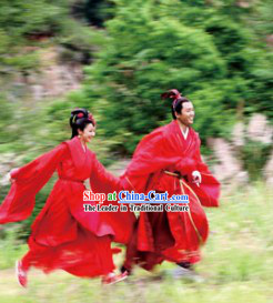 Traditional Chinese Red Wedding Dresses for Men and Women