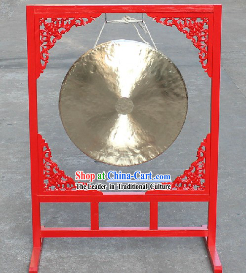 Traditional Chinese Big Gong and Wooden Gong Stand