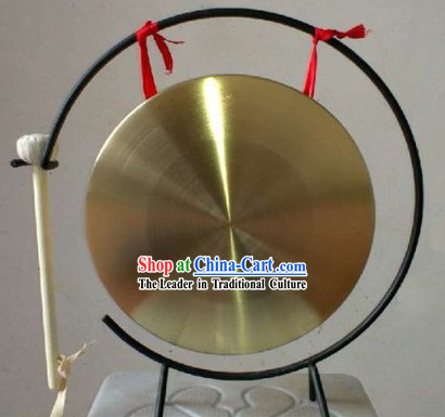 Traditional Chinese Gold Gong and Stand Set
