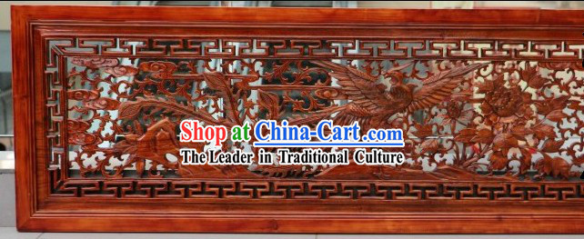 Traditional Chinese Hand Carved Phoenix Plaque
