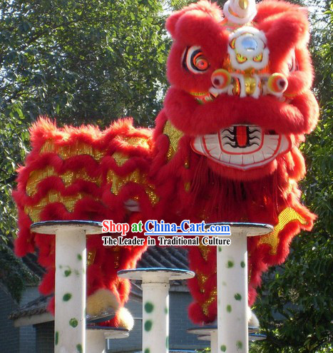 Most Welcome Red Chinese Huang Feihong Master Lion Dance Costumes Complete Set