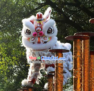 Cute Friendly Snow White Lion Dance Chinese New Year Costume Complete Set