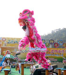 Pink Lion Dancing Costume Complete Set for Display and Play