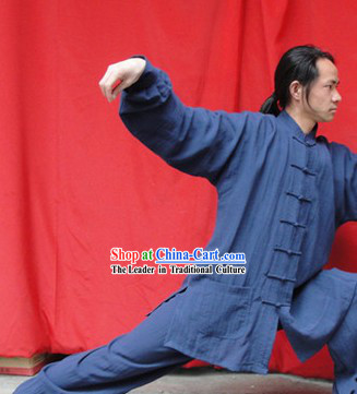 Classic Deep Blue Cotton Mandarin Chinese Wu Shu Uniform