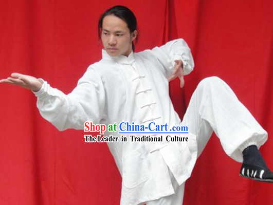 Top Quality White Natural Flax Mandarin Chinese Martial Arts Uniform
