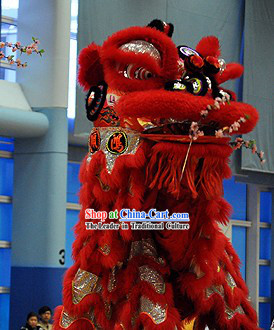 Red and Silver Business Promotion Display Lion Dance Costume Complete Set