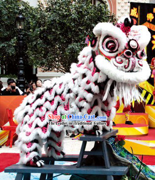 Tiger Stripe Handmade and Painted Hok San Lion Dance Costumes Complete Set