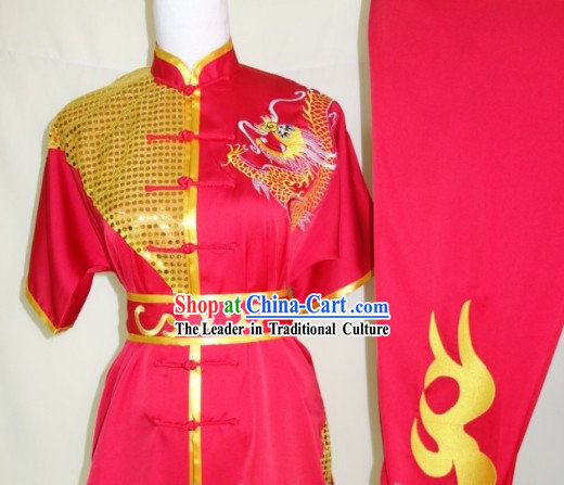 Top Silk Broadcloth Kung Fu Championship Dragon Dancer Costumes Complete Set