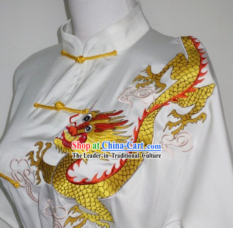 White Silk Broadcloth Dragon Dancer Outfit and Kung Fu Uniform Complete Set