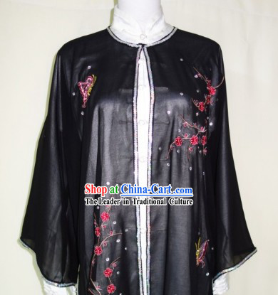 Black Embroidered Butterfly and Flower Tai Chi Blouse Pants Belt and Veil Complete Set