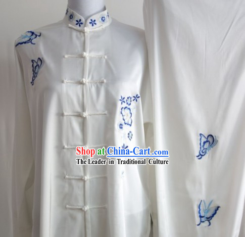 Blue Flower Embroidery Long Sleeves Martial Arts Uniform Complete Set