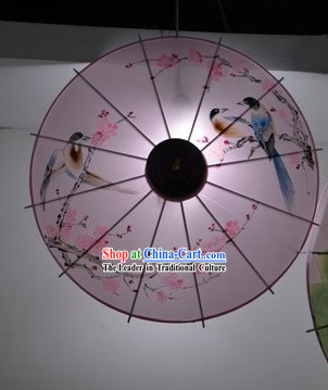 Hands Painted Flower and Bird Traditional Chinese Umbrella Pendant Light