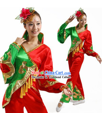 Red and Green Chinese Group Yangge Dance Costumes and Headwear Complete Set for Women
