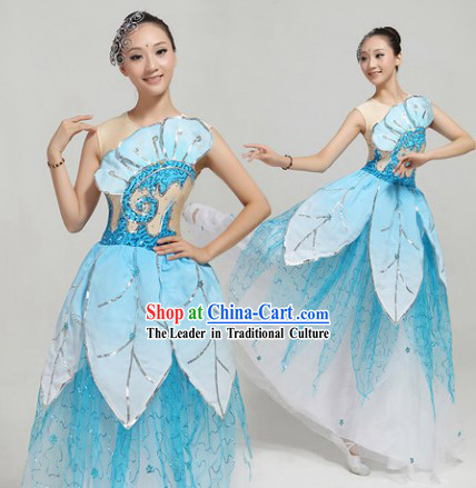 Blue Fan Dance Group Dance Costumes and Headwear Complete Set for Women