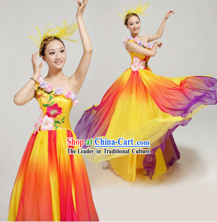 Chori Dance Group Dance Singing Group Costumes and Headwear Complete Set for Women