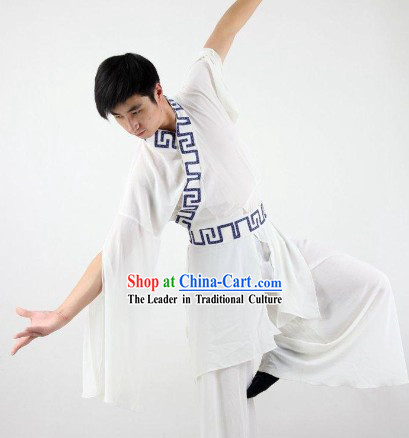 White Wide Sleeves Classical Dance Costumes for Men