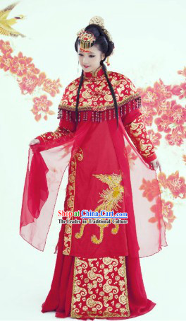 Traditional Chinese Wedding Ceremony Red Dress Complete Set for Brides