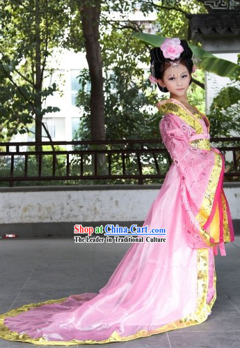 Pink Ancient Chinese Princess Costumes and Hair Accessories Complete Set for Children