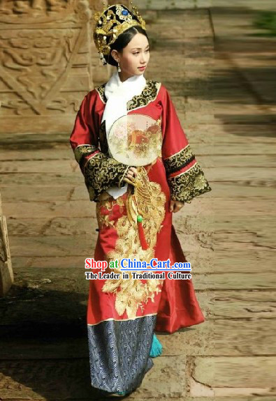 Qing Dynasty Empress Costumes and Headwear Complete Set for Women