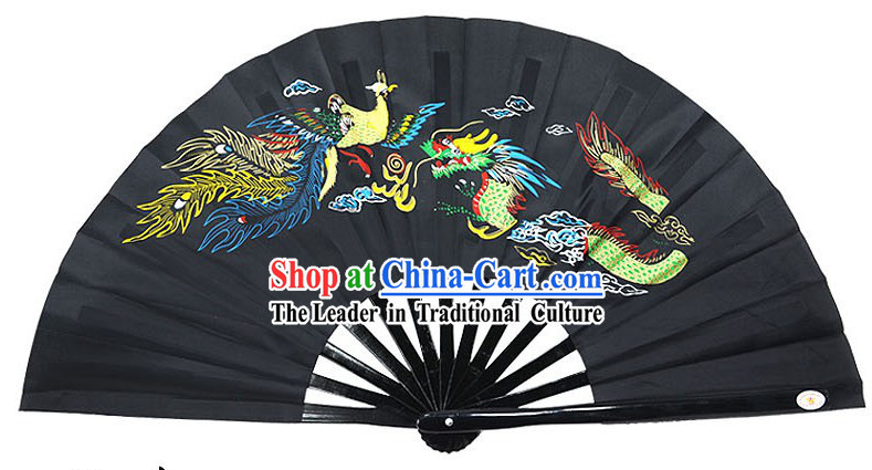 Black Traditional Wushu Double Fans for Right and Left Hands
