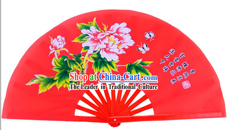 Red Traditional Kung Fu Double Fans Peony Pattern for Right and Left Hands