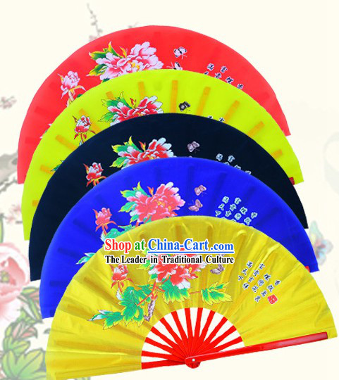 Traditional Kung Fu Double Fans Peony Pattern for Right and Left Hands