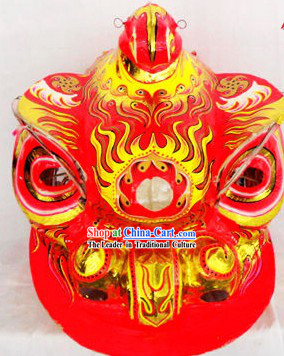Supreme Red and Gold Lion Dance Costumes Complete Set with Red Long Wool