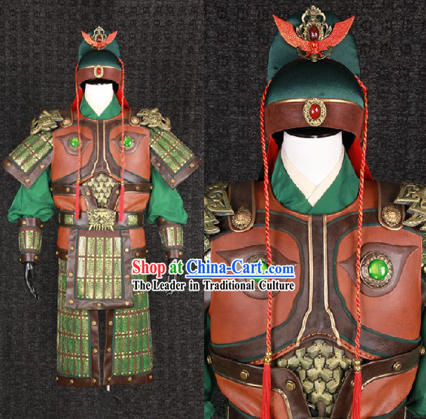 Ancient Chinese Three Kingdoms Guan Yu Guan Gong Armor Costumes and Helmet Complete Set for Men