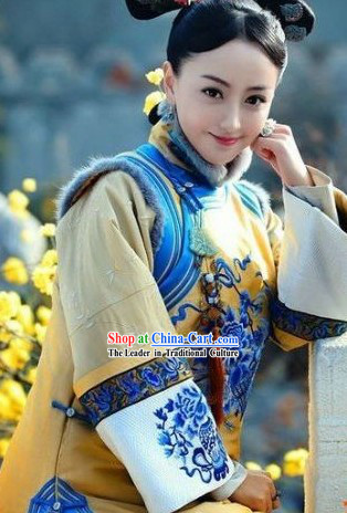 Qing Dynasty Princess Clothes and Hair Accessories Complete Set for Women
