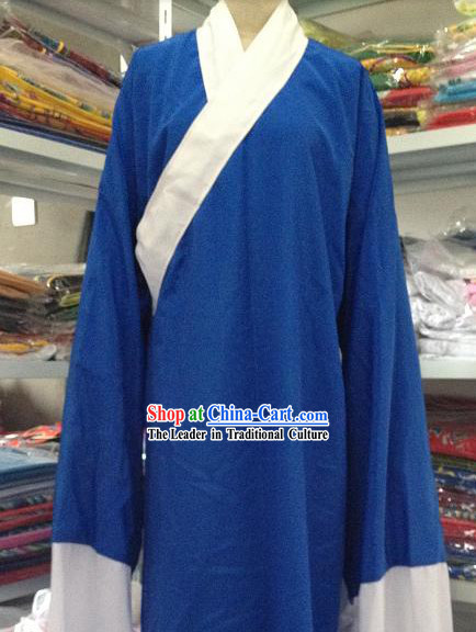 Traditional Chinese Blue Long Robe Water Sleeves Lao Sheng Costumes