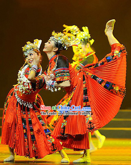 Traditional Chinese Miao Ethnic Dance Costumes for Women