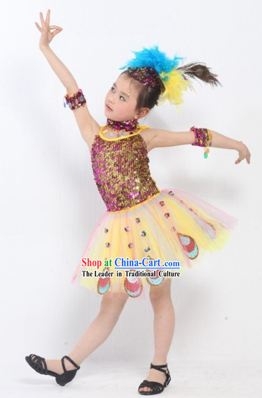 Peacock Dance Costumes Complete Set for Kids