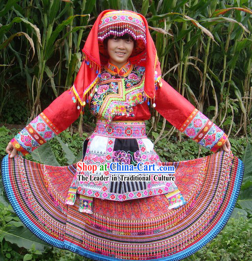 Traditional Chinese Miao Tribe Suit and Hat