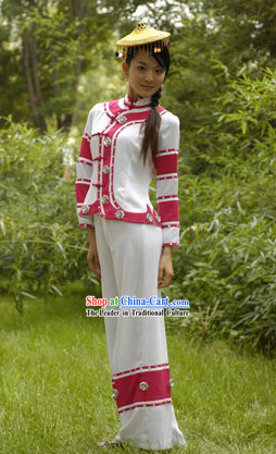 Traditional Chinese Maonan Tribe Outfit and Hat