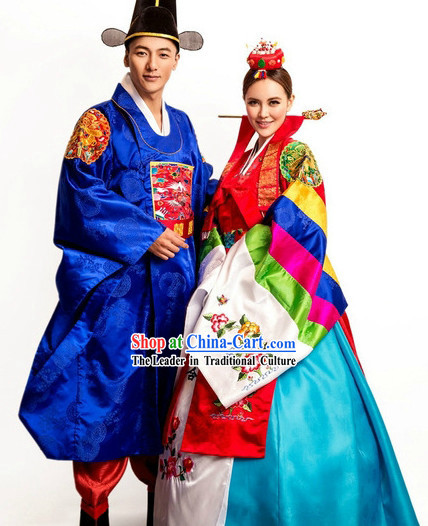 Ancient Korean Wedding And Hat For Bride Bridegroom