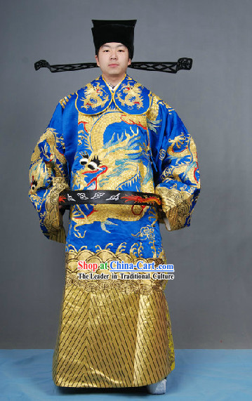 Blue Chinese Classical Peking Opera Embroidered Dragon Robe and Hat