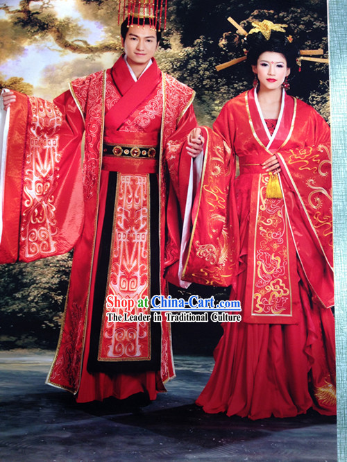 Chinese Classical Imperial Wedding Outfits and Crown Complete Sets for Bride and Bridegroom