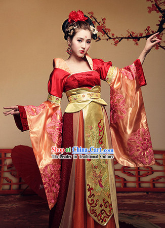 Ancient Chinese Tang Dynasty Imperial Concubine Outfits and Hair Accessories