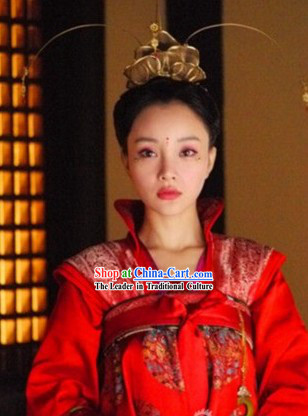 Tang Dynasty Princess Brides Wedding Clothing and Headdress Complete Set