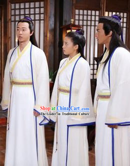 Ancient Chinese School Students Long White Robe with Cape