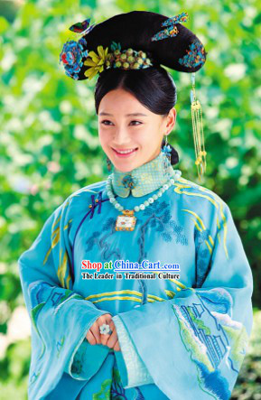 Qing Palace Imperial Princess Blue Dresses and Headdress Complete Set