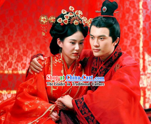 Chinese Classic Han Clothing Wedding Dresses and Phoenix Hair Accessories Two Sets
