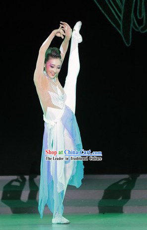 Traditional Chinese White Classical Dancing Costumes Complete Set